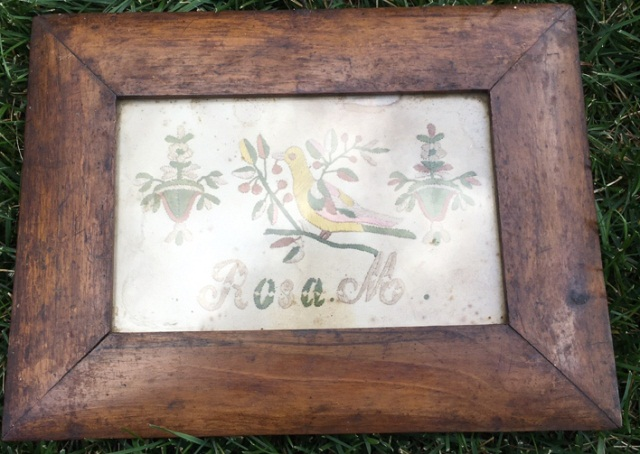 Antique Folk Art Embroidered Silk Panel