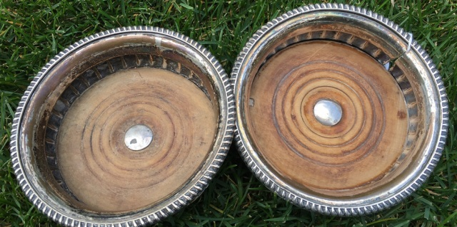 Pair of Antique Silver Plate Wine Bottle Coasters
