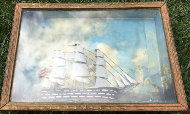 Antique Sailboat in Shadow Box