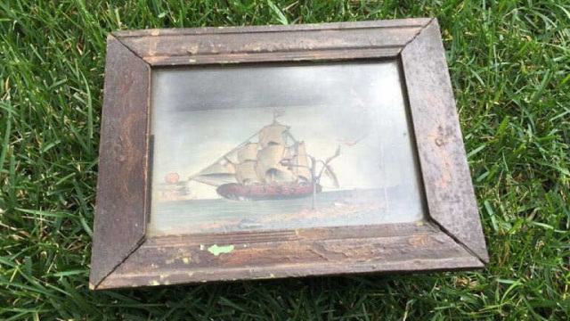 Antique Shadow Box w/Nautical Theme