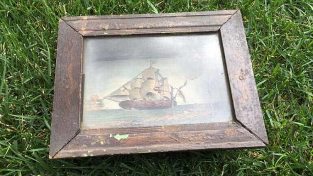 Antique Shadow Box w/Nautical Theme