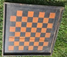 Antique Painted Wood Checker/Game Board