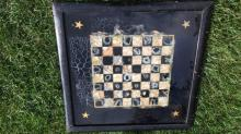 Antique Painted Glass Game Board