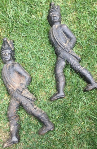 Pair of Cast Iron Prussian Soldier Andirons