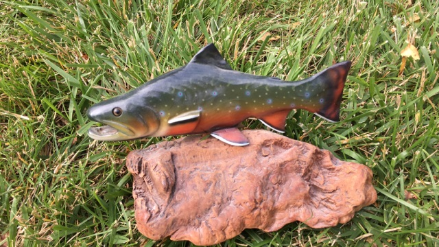 Hand Painted Fish Carving Signed