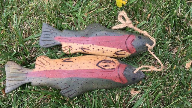 Pair of Carved and Painted Fish Figures Signed RHM
