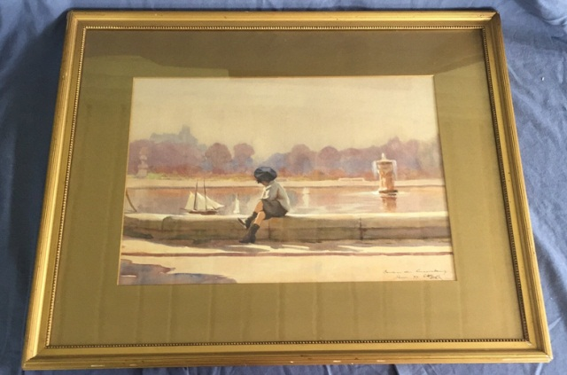 Antique Painting Boy with Sailboat by Gohl