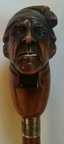 Antique Cane/Walking Stick Carved Head Nutcracker