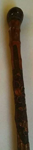Antique Carved Bamboo Cane w/Insects