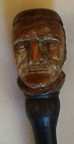 Antique Folk Art Carved &Painted Man's Head Cane