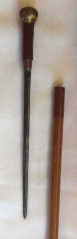 Antique Sword Cane/Walking Stick w/Decorated Blade