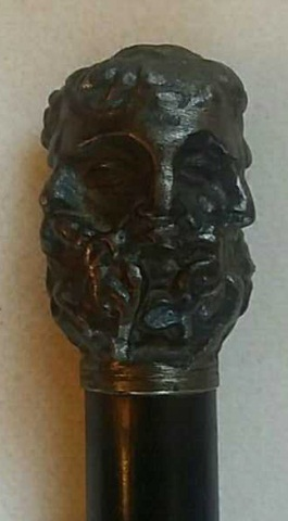 Antique Cane/Walking Stick 6 Face Cast Metal