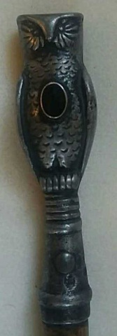 Antique Cane/Walking Stick Cast Metal Owl Handle