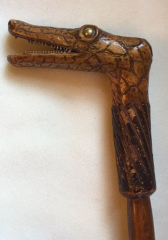 Antique Carved Alligator Head Cane