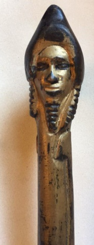 Antique Folk Art Carved & Gilded Cane