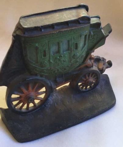 Antique Painted Iron Doorstop Royal Carriage