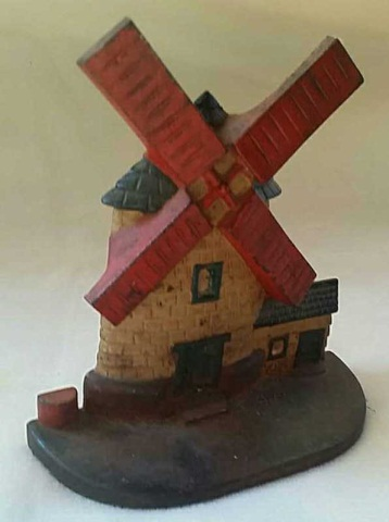 Antique Painted Iron Doorstop Windmill