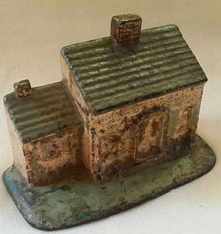 Antique Painted Iron Doorstop Cottage