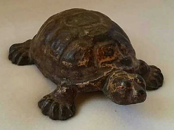 Antique Painted Iron Doorstop Turtle