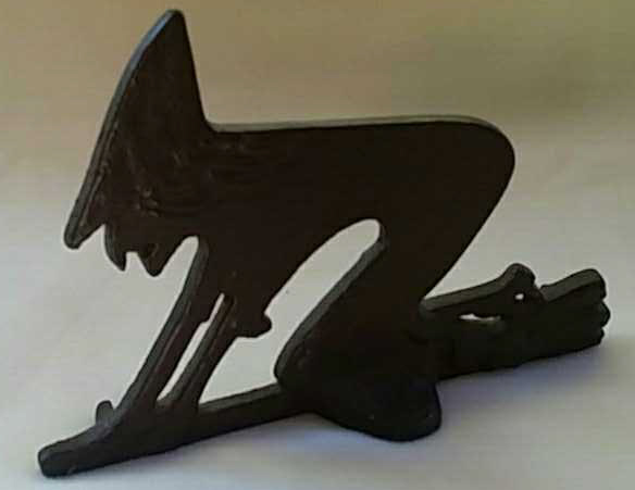 Antique Painted Iron Doorstop Witch on a Broom
