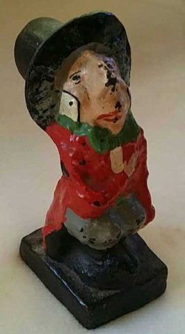 Antique Painted Cast Iron Doorstop Mad-Hatter