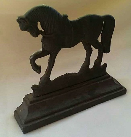 Antique Painted Cast Iron Doorstop Prancing Horse