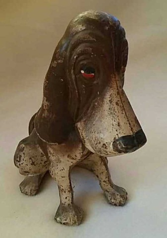 Antique Painted Cast Iron Still-Bank Bloodhound
