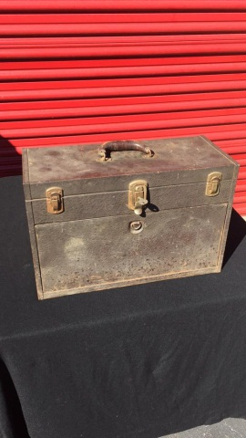 Vintage Metal Machinist Toolbox & Contents