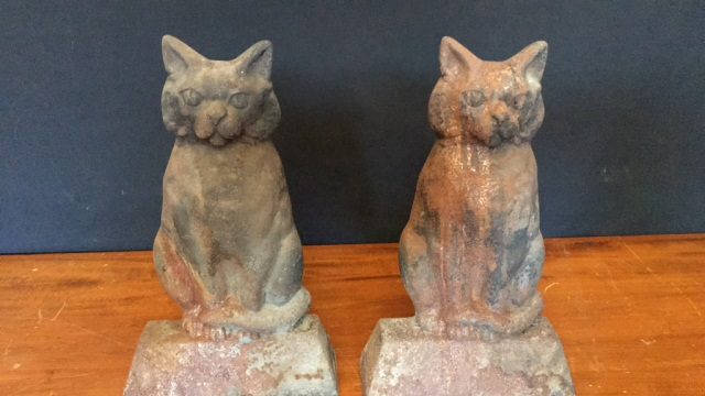 Pair of Antique Iron Catform Andirons