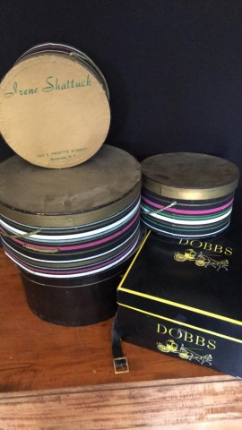 Group of 5 Hat Boxes & 7 Vintage Hats