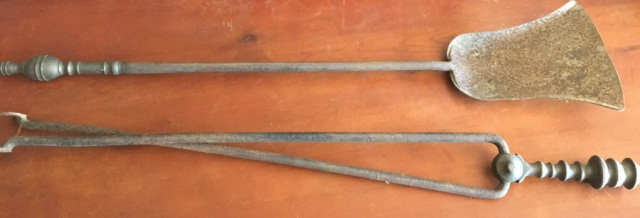 Lot of 2 Antique Brass & Iron Fireplace Implements