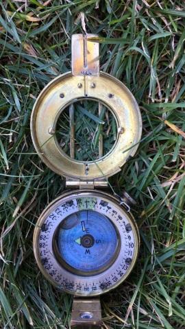 Vintage Brass Francis B Mils Liquid Prism Compass