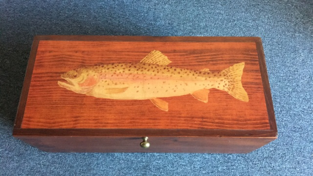 Wooden Box with Trout Print on Lid