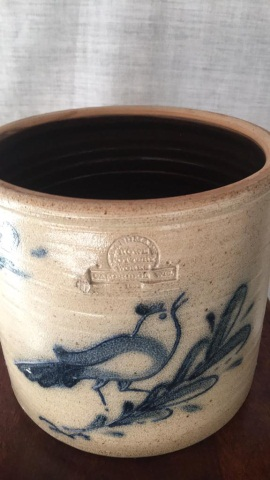 Reproduction  Stoneware Folk-Art Blue crock