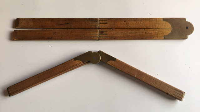 Antique Tool Lot of Two Expandable Rulers