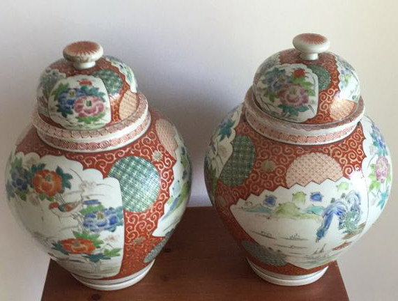 Pair of Antique Asian Porcelain Ginger Jars
