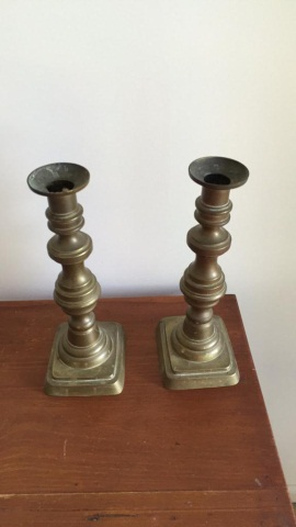 Pair of Early Brass Push-up Candle Holders