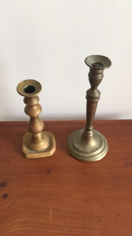 Lot of Two Mismatched Brass Candle Holders
