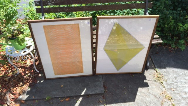 Two 1970's Era Decorator Prints Geometric Design
