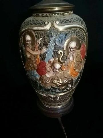 Antique Japanese Ceramic Vase mtd as Table Lamp