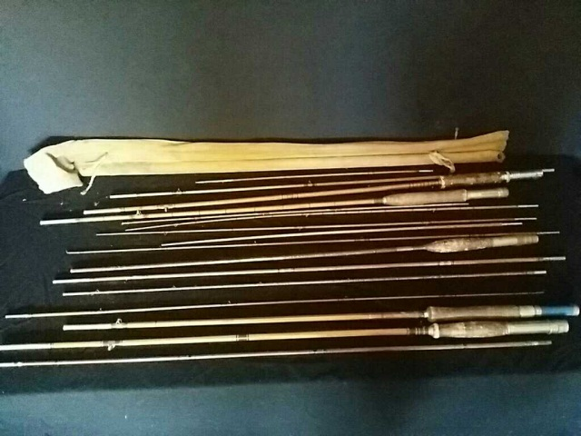 Lot of 5 Antique Bamboo Fly Rods