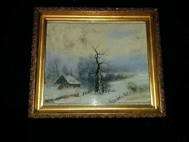 Antique Winter Landscape Painting