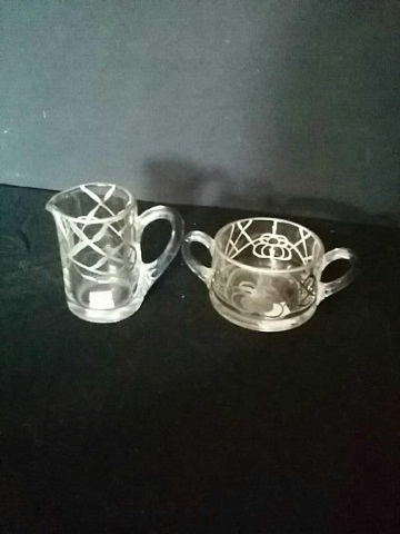 Antique Sugar & Creamer With Silver Deposit
