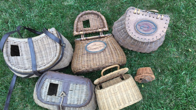Lot of 6 Decorative Woven Fishing Creels