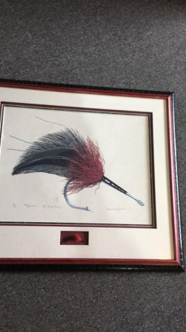 Ward Donahue Original Signed Print and Trout Fly