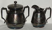 Rogers Antique Silver Plate Creamer & Large Sugar