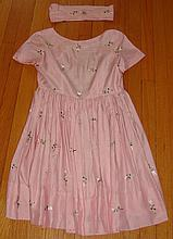 Vintage Pink Dress w/ Embroidered Flowers & Belt