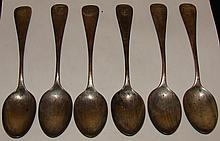 Sterling Lot of 6 Tea Spoons - Maker & Pattern Unk