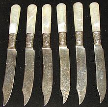 6 Mother of Pearl Handle Fruit Knives - Sterling B