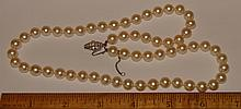 Vintage Faux Pearl Jewelry Lot - 2 Pins & Necklace